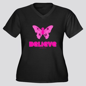iBelieve - Pink Women's Plus Size V-Neck Dark T-Sh