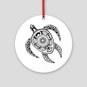 Black Hawaiian Turtle-2 Ornament (Round)