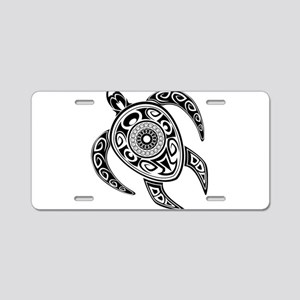 Black Hawaiian Turtle-2 Aluminum License Plate