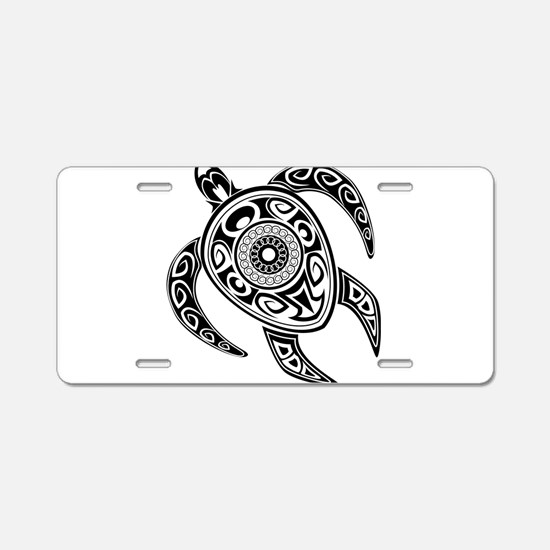 Black Hawaiian Turtle-2 Aluminum License Plate