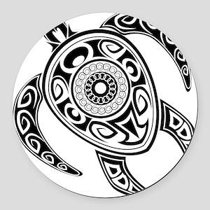 Black Hawaiian Turtle-2 Round Car Magnet