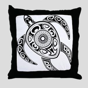 Black Hawaiian Turtle-2 Throw Pillow