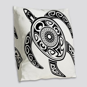 Black Hawaiian Turtle-2 Burlap Throw Pillow