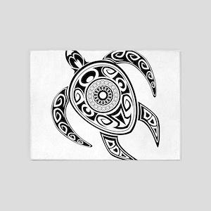 Black Hawaiian Turtle-2 5'x7'Area Rug