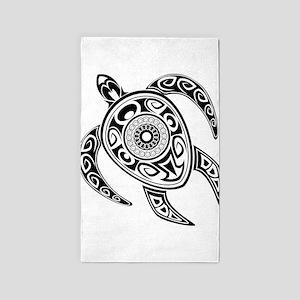 Black Hawaiian Turtle-2 3'x5' Area Rug