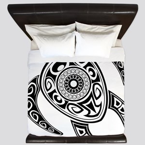 Black Hawaiian Turtle-2 King Duvet