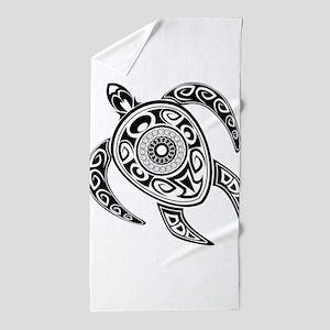 Black Hawaiian Turtle-2 Beach Towel
