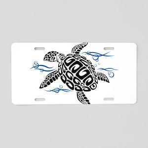 Swimming Black Turtle Aluminum License Plate
