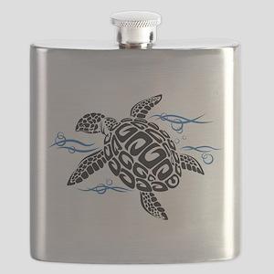 Swimming Black Turtle Flask