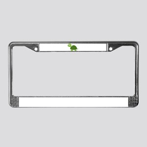 Green Cartoon Turtle-3 License Plate Frame