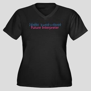 Future Interpreter Women's Plus Size V-Neck Dark T