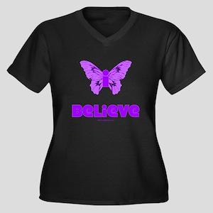 iBelieve - Purple Women's Plus Size V-Neck Dark T-