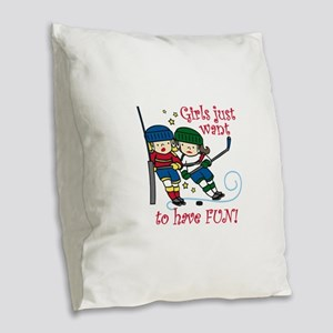 Have Fun Burlap Throw Pillow