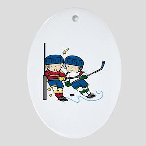 Hockey Boys Ornament (Oval)