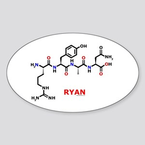 Ryan name molecule Oval Sticker