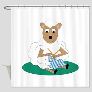 Knitting Lamb Shower Curtain