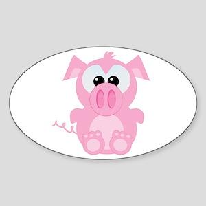 Goofkins Cute Little Piggy Oval Sticker