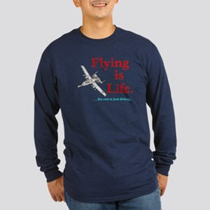 FLYING IS LIFE Long Sleeve Dark T-Shirt
