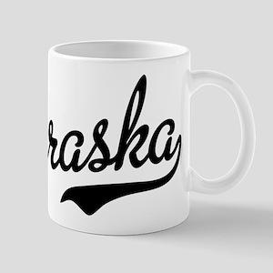 Nebraska Script Black Mug