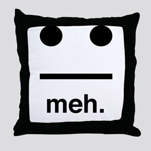 Meh face Throw Pillow