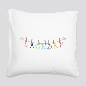 Laundry Hanging Square Canvas Pillow