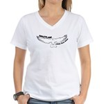 Under Your Wing Ladies V-Neck T-Shirt (white)