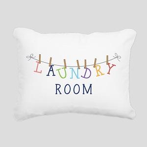 Laundry Hanging Rectangular Canvas Pillow