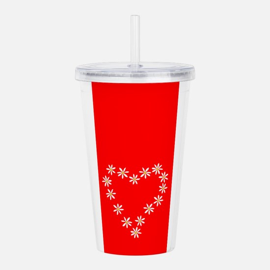 Red Heart Valentines Acrylic Double-Wall Tumbler