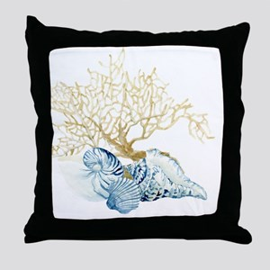 Indigo Ocean Coral Nautilus Triton Sc Throw Pillow