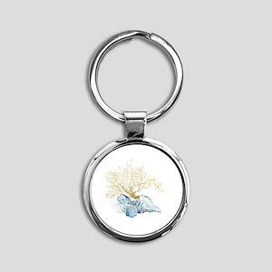 Indigo Ocean Coral Nautilus Triton  Round Keychain