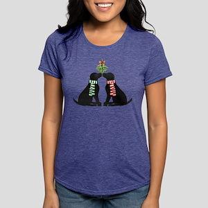 Black Labs Kissing Mistletoe T-Shirt