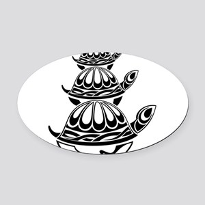 Trio of Turtles Oval Car Magnet