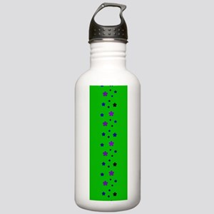 Blue Green Retro Floral Path Water Bottle