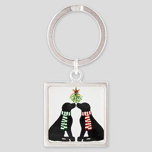 Black Labs Kissing Mistletoe Keychains