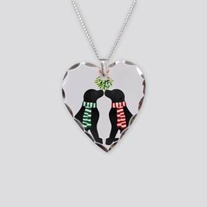Black Labs Kissing Mistletoe Necklace