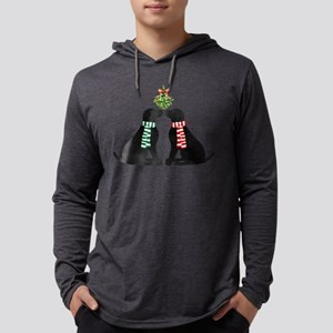 Black Labs Kissing Mistletoe Long Sleeve T-Shirt