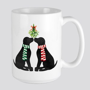 Black Labs Kissing Mistletoe Mugs