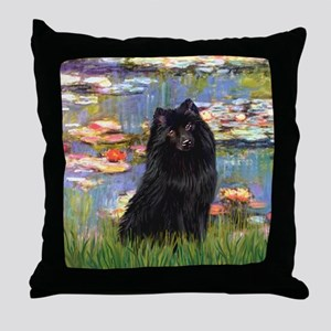 Lilies (2) & Schipperke Throw Pillow