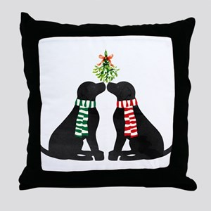 Black Labs Kissing Mistletoe Throw Pillow