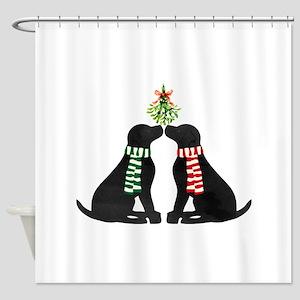 Black Labs Kissing Mistletoe Shower Curtain