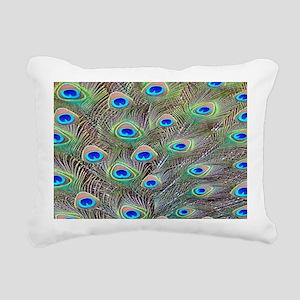 Blue Eye Peacock Feathers Rectangular Canvas Pillo