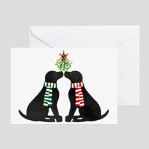 Black Labs Kissing Mistletoe Greeting Cards