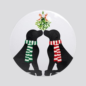 Black Labs Kissing Mistletoe Round Ornament