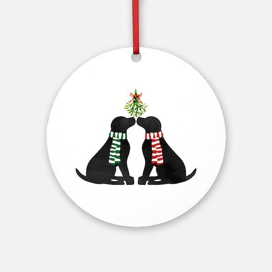 Black Labs Kissing Mistletoe Round Ornament