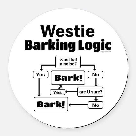 Westie Logic Round Car Magnet