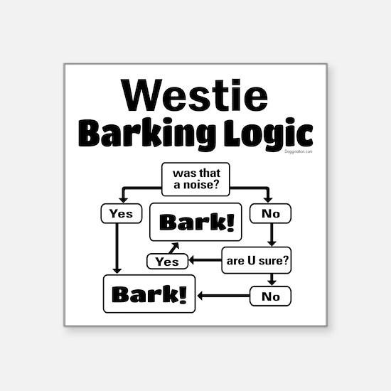 "Westie Logic Square Sticker 3"" x 3"""