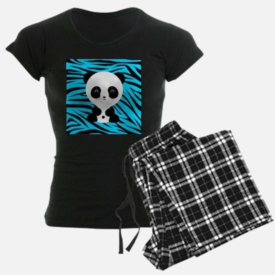 Panda on Teal Black Zebra Pajamas