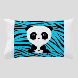 Panda on Teal Black Zebra Pillow Case