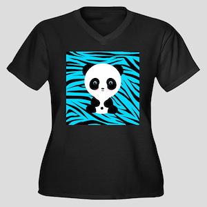 Panda on Teal Black Zebra Plus Size T-Shirt