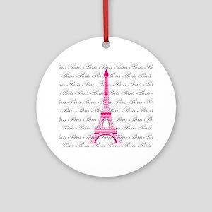 Pink and Black Paris Ornament (Round)